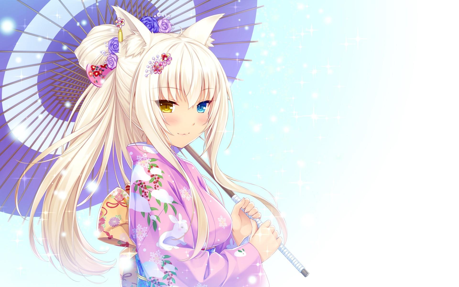 Anime Sexy Blonde Girl Cat