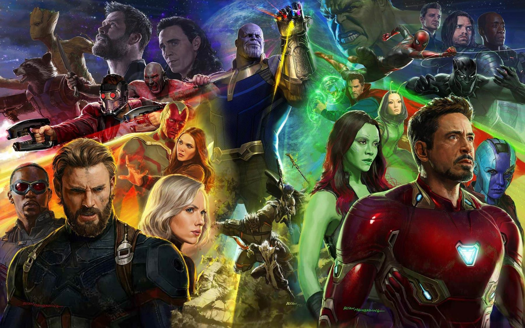 Wallpaper Avengers Infinity War Falcon Iron Man Thor K Movies