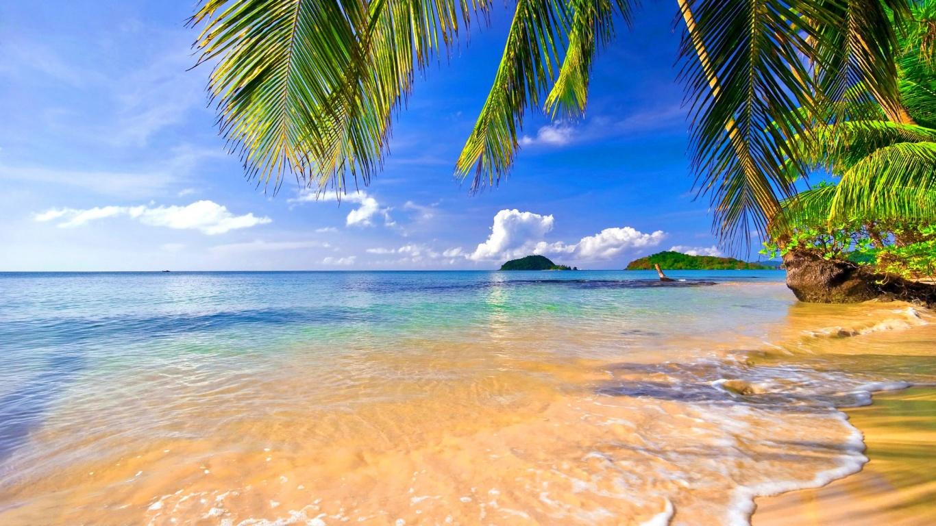 Beach Lounge Chair Hd Desktop Wallpaper High Definition 1366x768