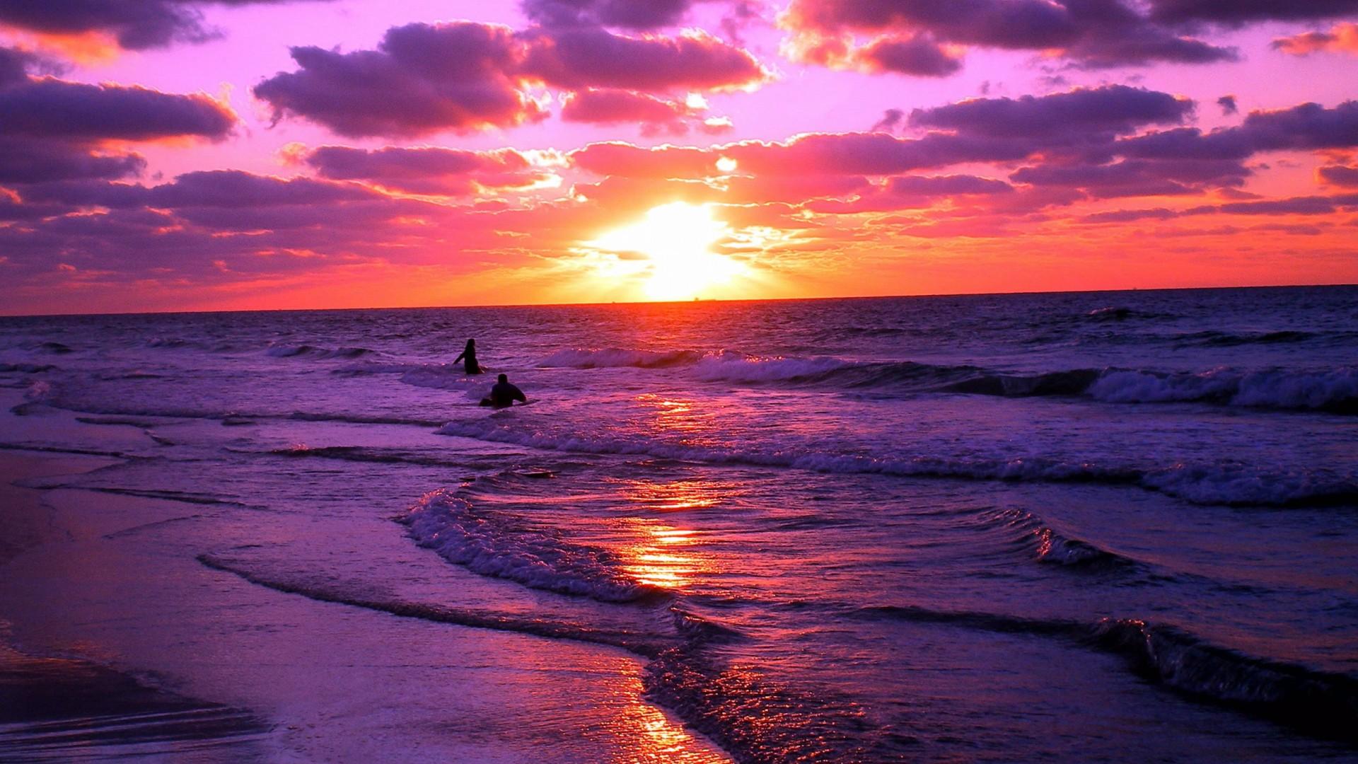 EXS Beach Sunset Wallpaper Desktop Awesome 1920x1080