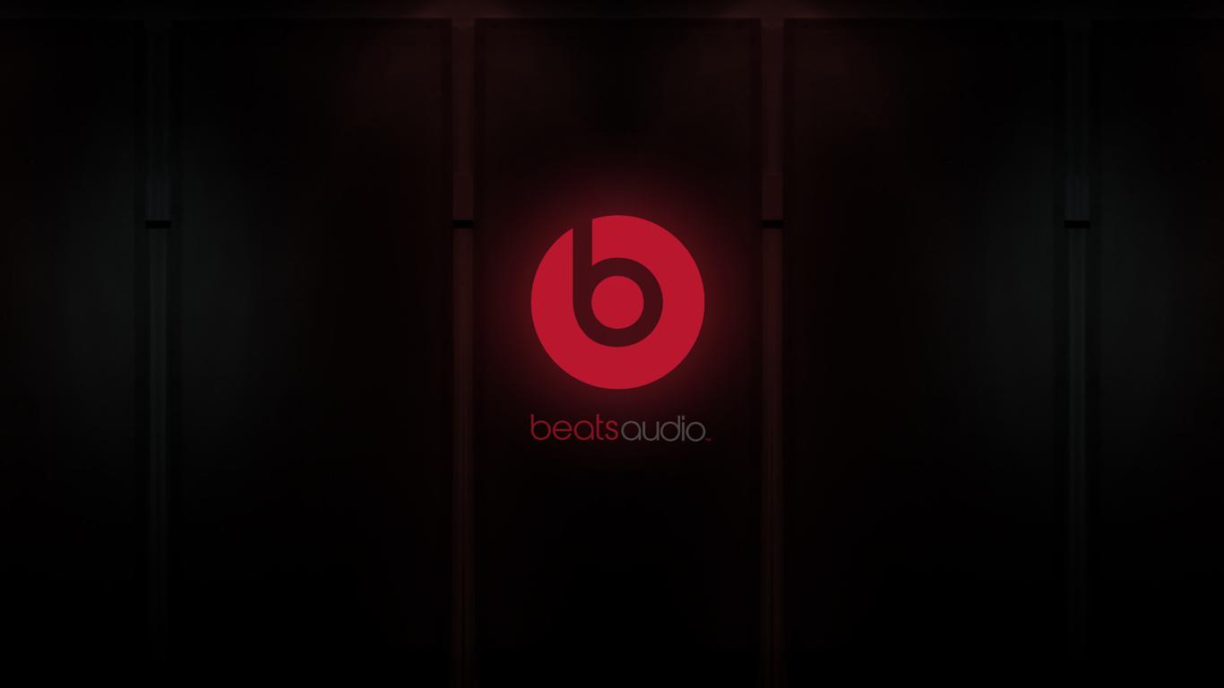 HD Background Beats Audio Logo Red Black Symbol Wallpaper 1366x768