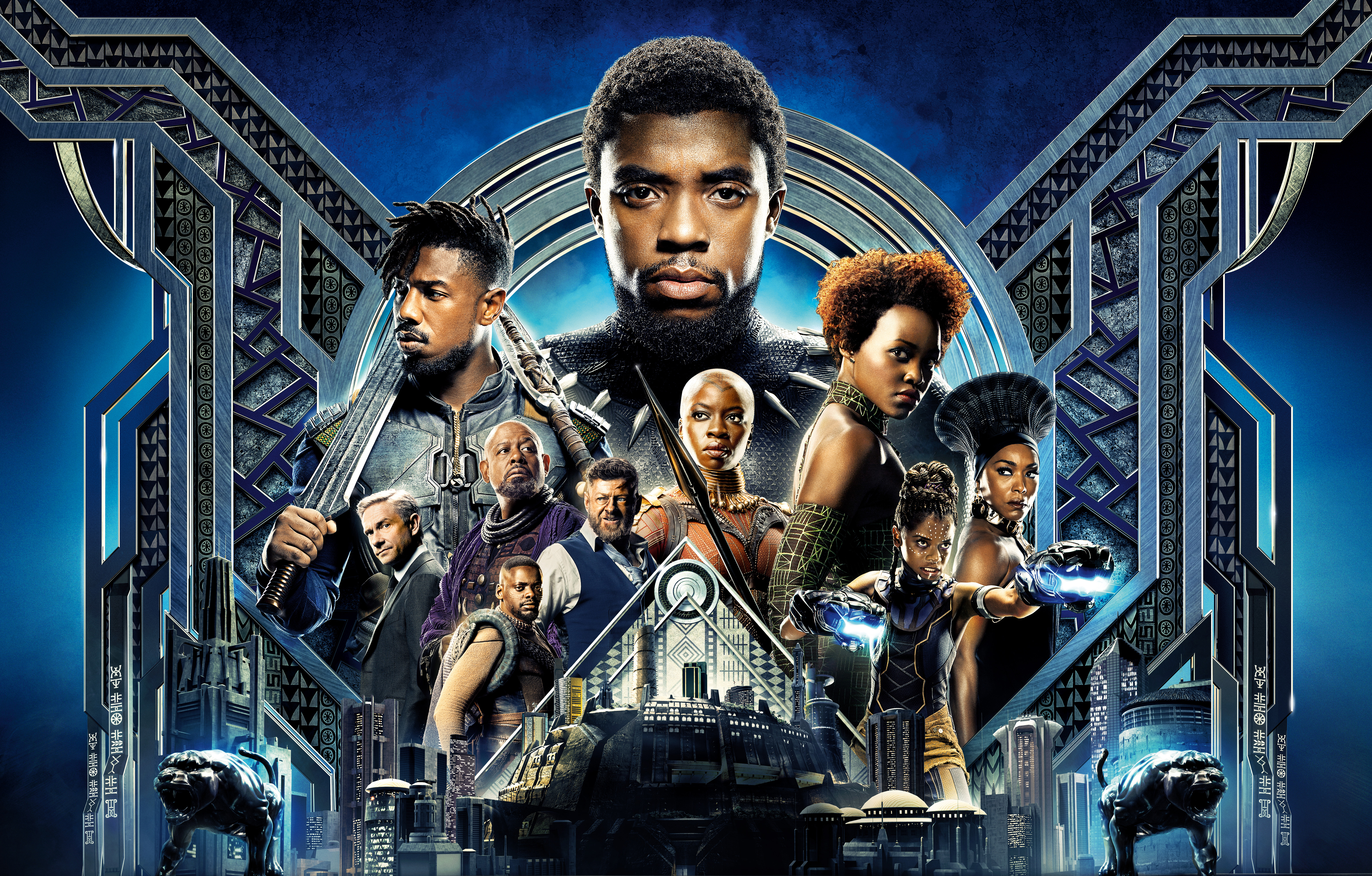 Wallpaper Black Panther Cast Marvel Comics K Movies