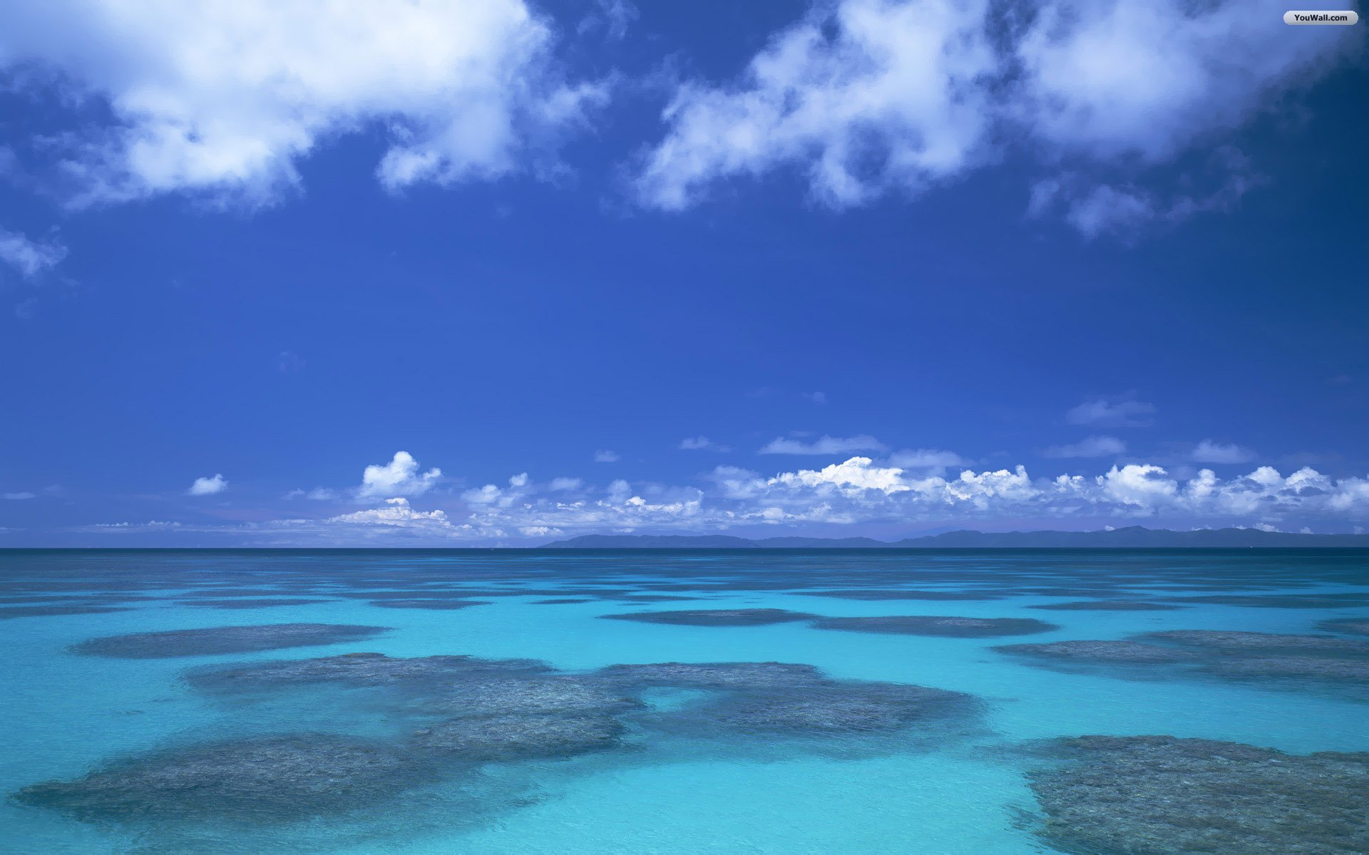 Blue Water Sea With Blue Sky Wallpaper  Free Wallpapers 1920x1200
