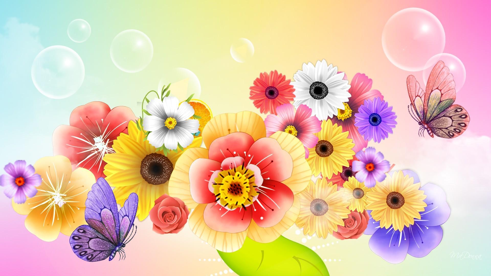Abstract Summer Flowers Wallpaper