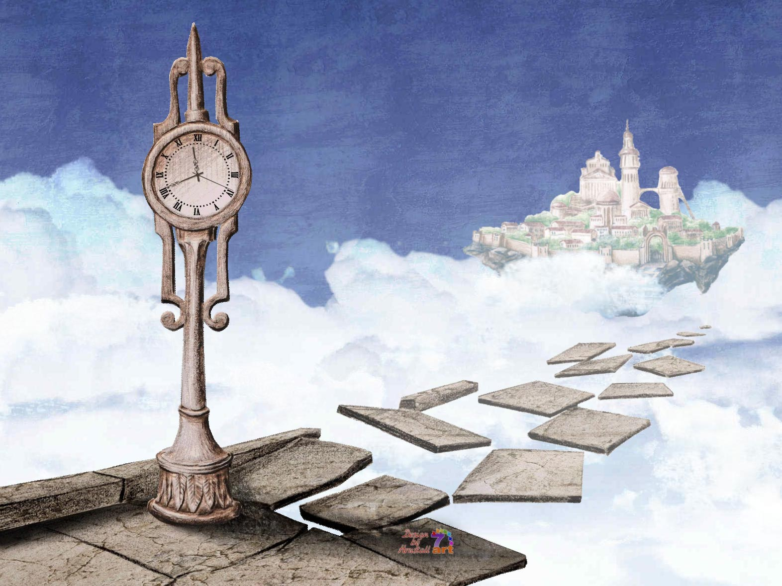 Flying Castle Clock screensaver magic staircase shows the way to