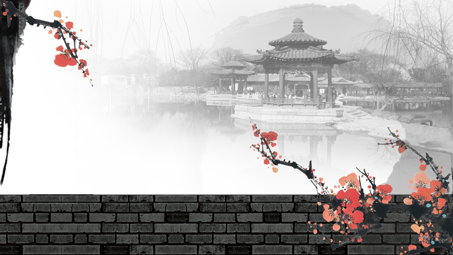 Collection of chinese painting wallpaper on hdwallpapers for Chinese mural wallpaper