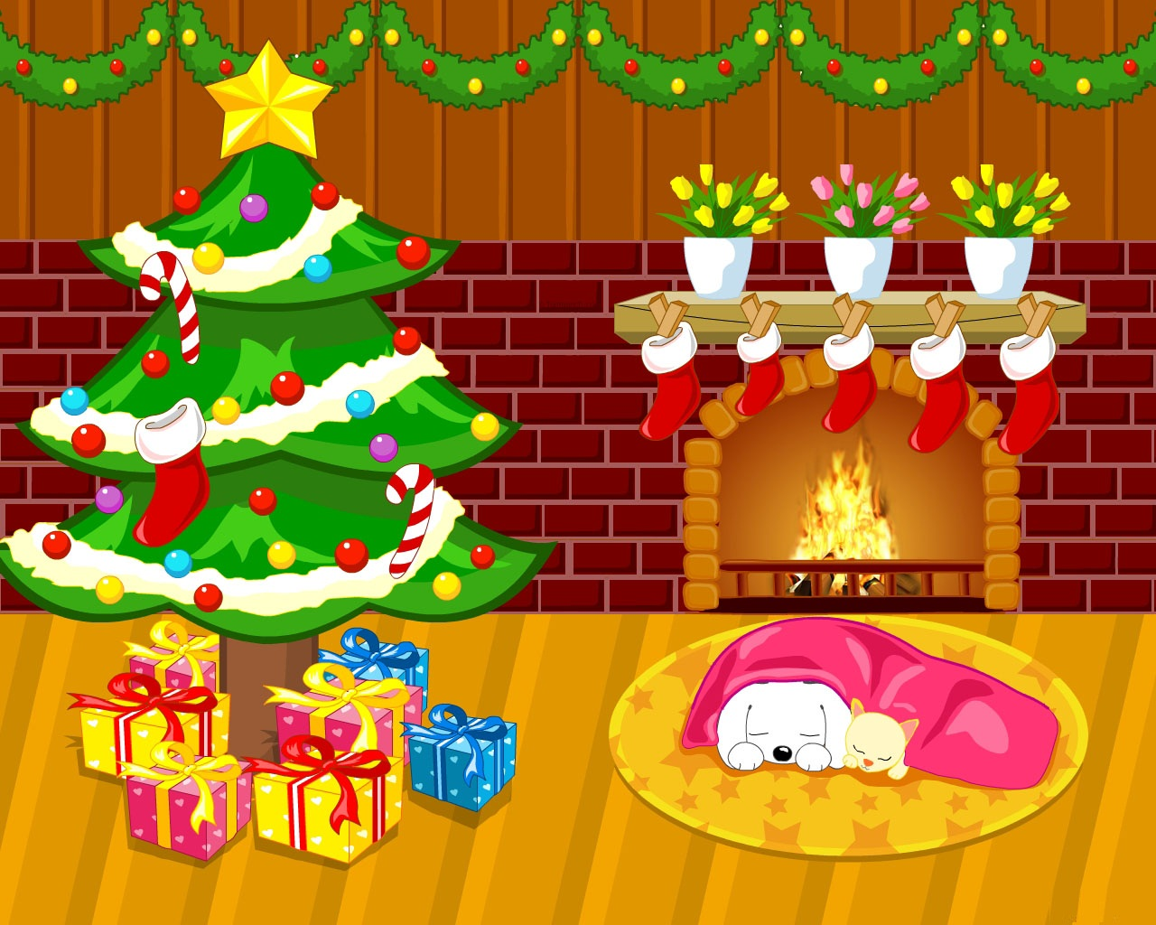 Cute Cartoon Christmas Desktop Wallpapers Free Wallpaper Download 1280x1024