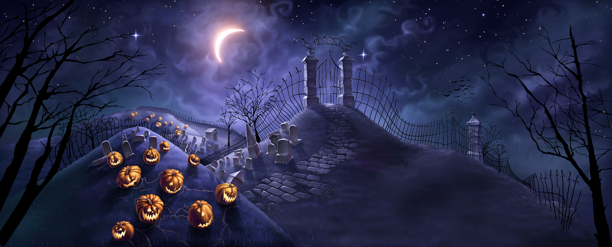 halloween background: desktop, cute, tumblr, scary and 2000x807