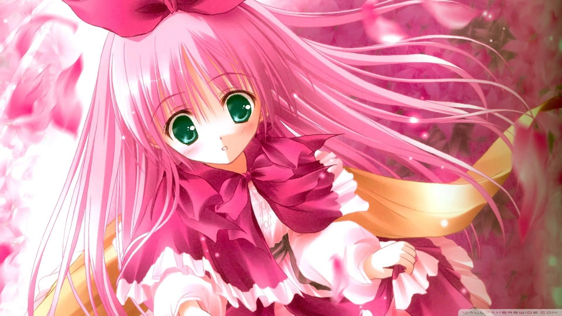 Cute Pink Anime HD Desktop Wallpaper Widescreen High Definition Fullscreen Mobile