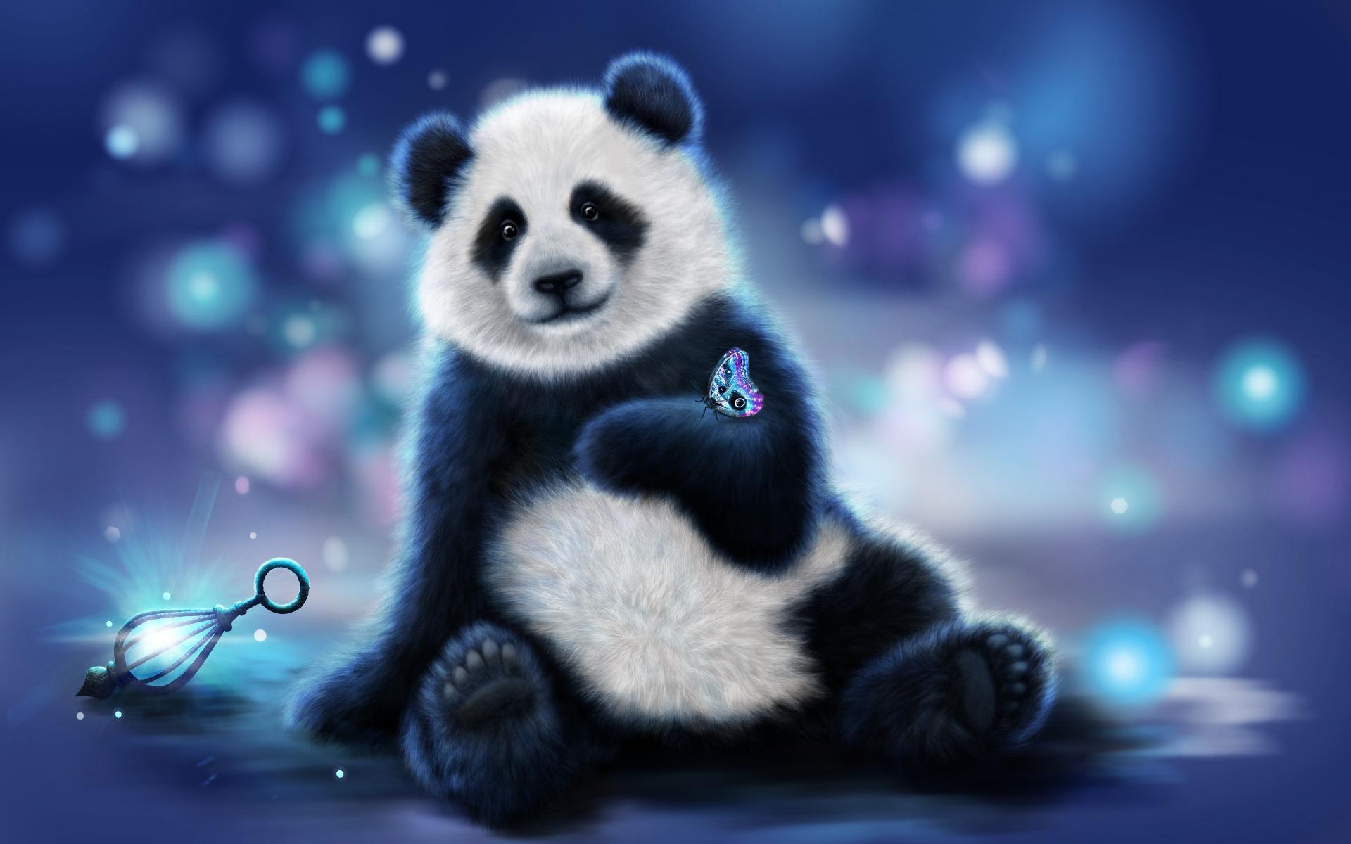 Cute Cartoon Panda Bear Wallpaper