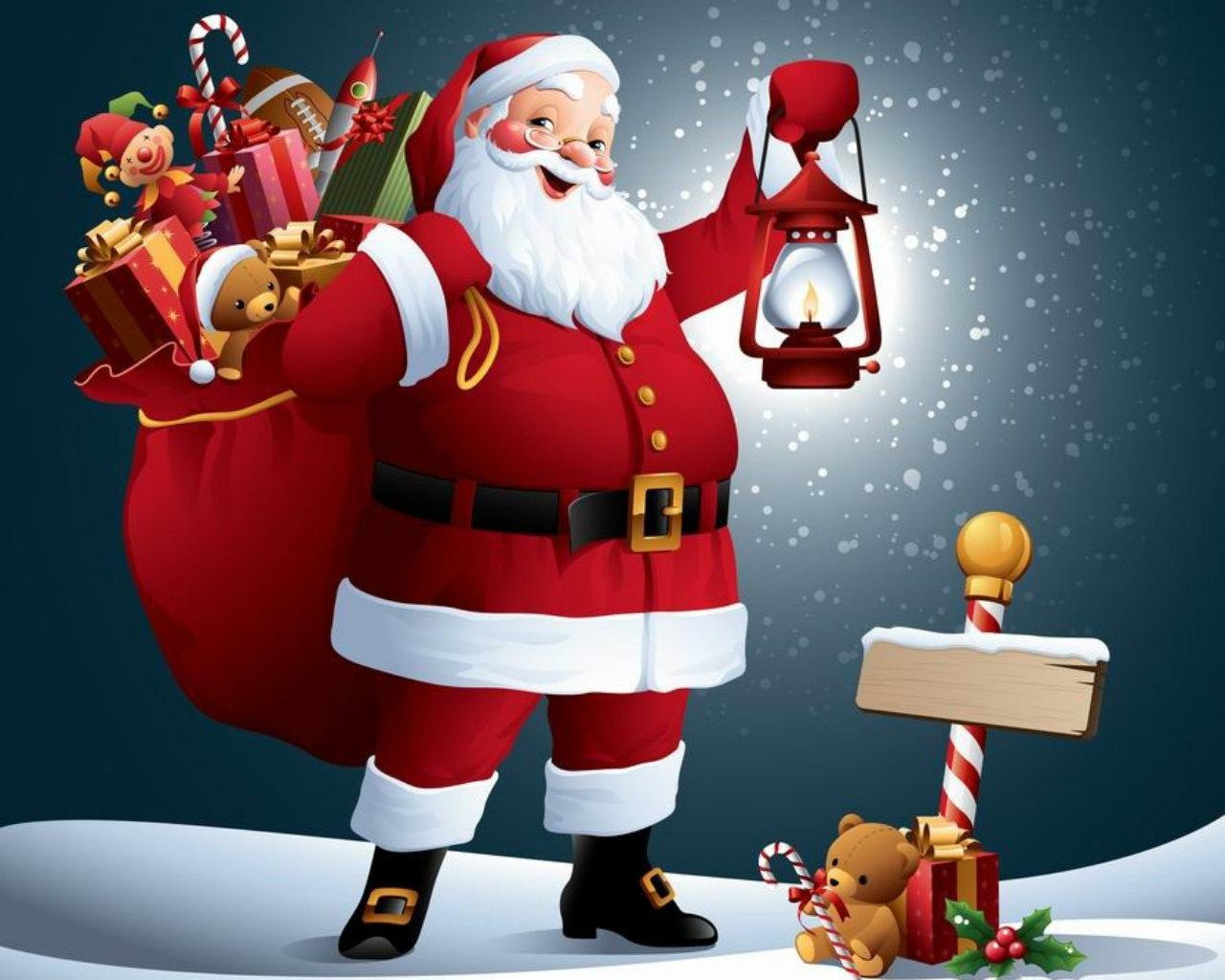 Cute Santa Claus Photo Ronament Wallcoo Christmas Wallpapers Wallpaper 1280x1024