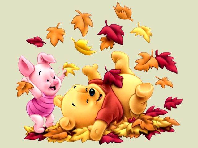 Disney Autumn Piglet and Winnie the Pooh among Leaves Wallpaper - Puzzles-Games.eu - puzzles games