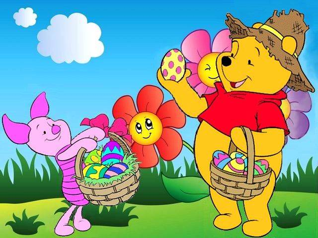 Disney Easter Piglet and Winnie the Pooh Wallpaper - Puzzles-Games.eu - puzzles games