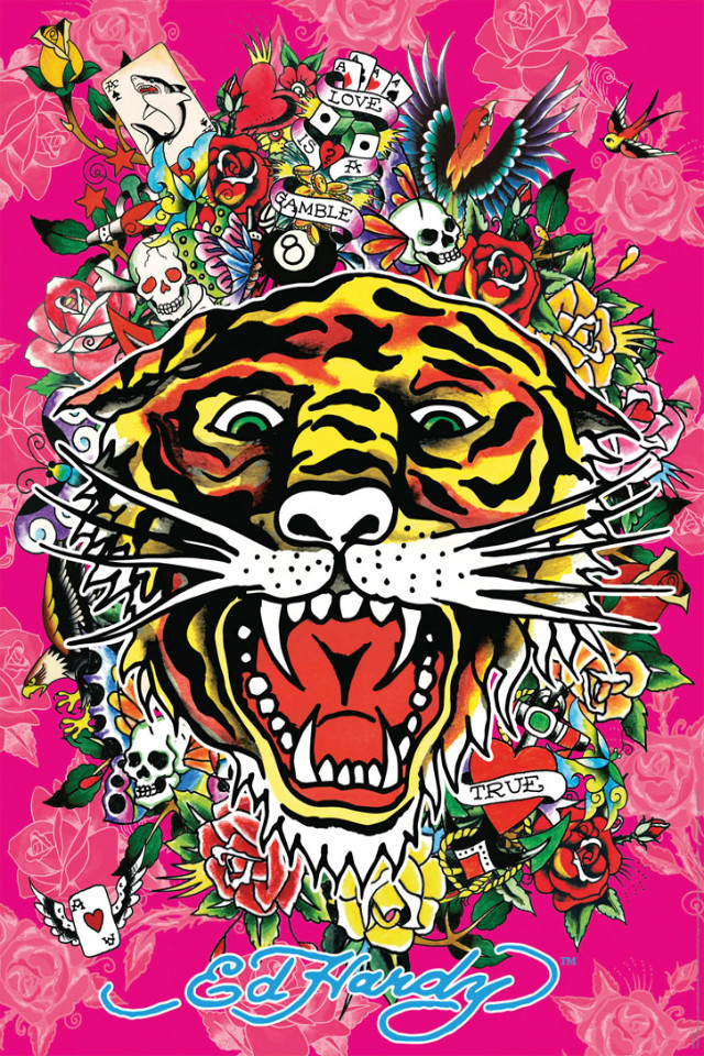 ed hardy art  ed hardy wallpaper computer Ed Hardy Backgrounds  Wallpaper  640x960