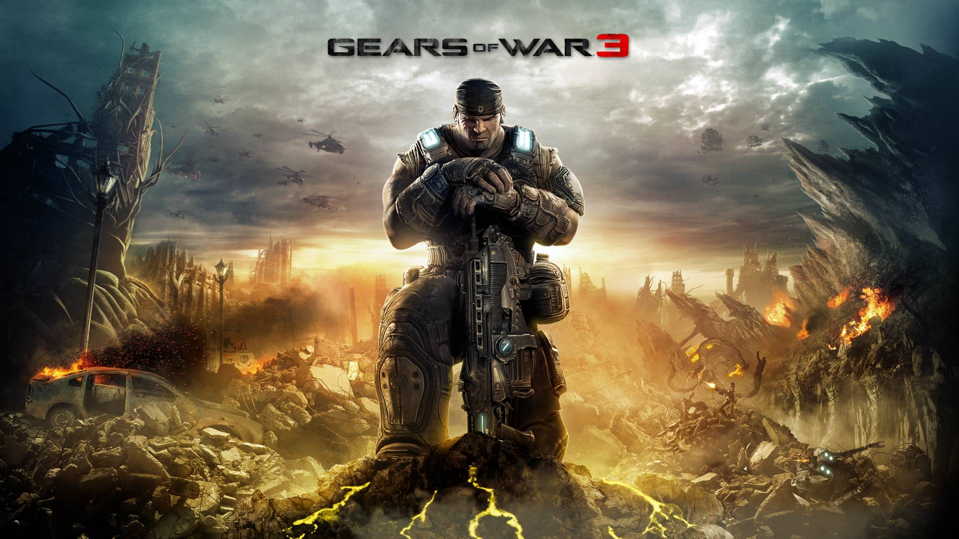 Download Wallpaper  Gears of war, Skull, Soldier, Sky 1920x1080