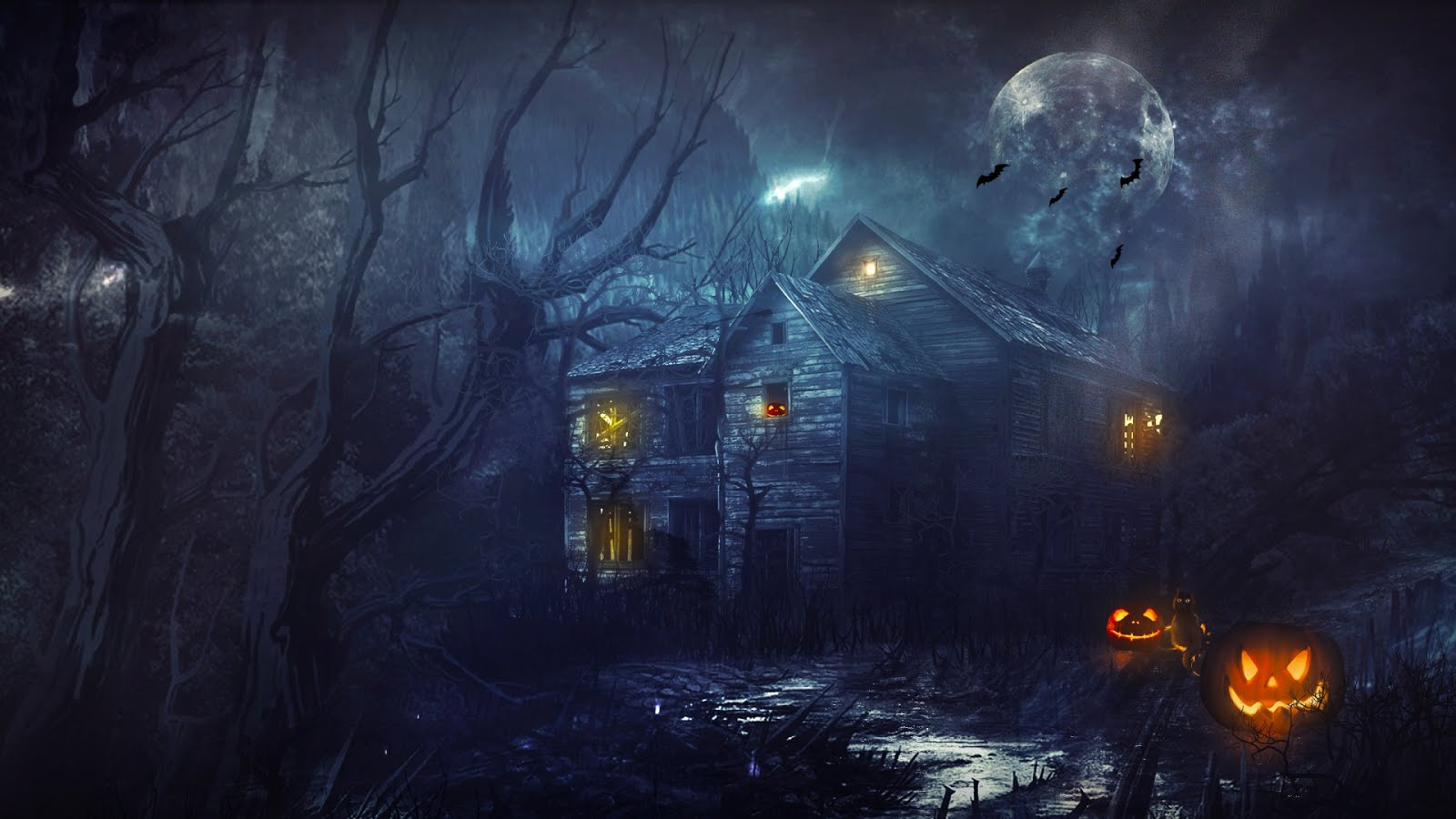 HairRaising Free Halloween Wallpaper to Download 1600x900