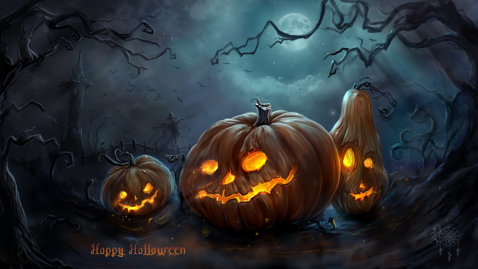 Scary Halloween  HD Wallpapers  Pumpkins, Witches, Spider Web 1920x1080