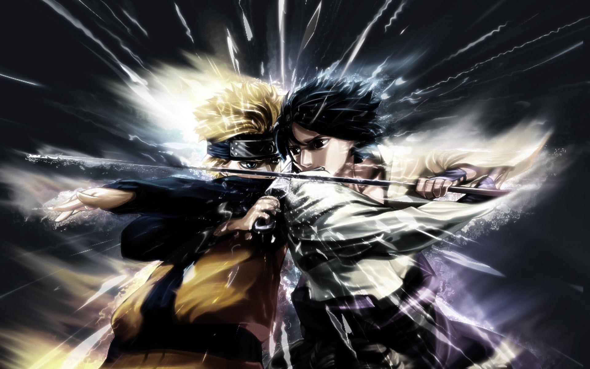 naruto vs sasuke fighting hd desktop wallpaper : widescreen 1920x1200