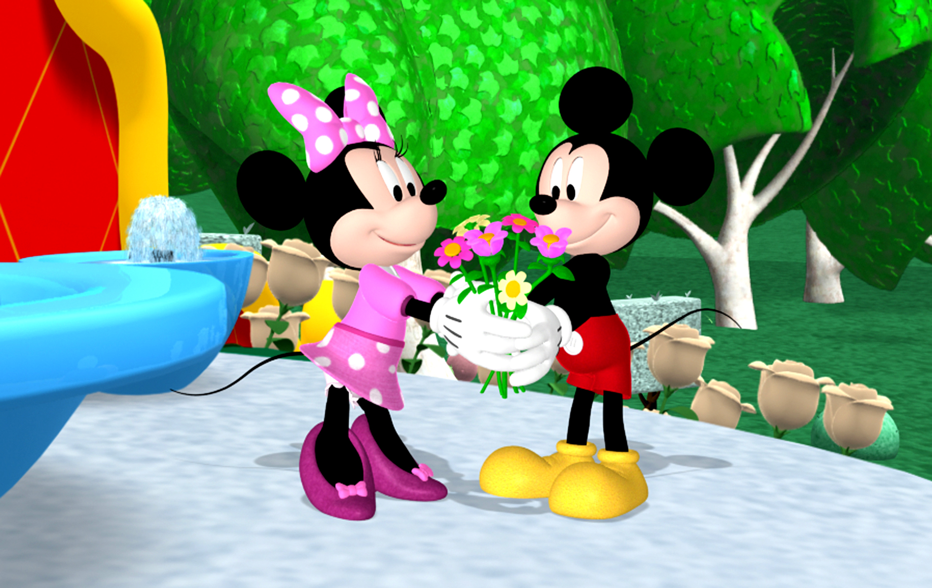 HD Background Mickey Mouse And Minnie Mouse Love Couple Heart 1900x1200
