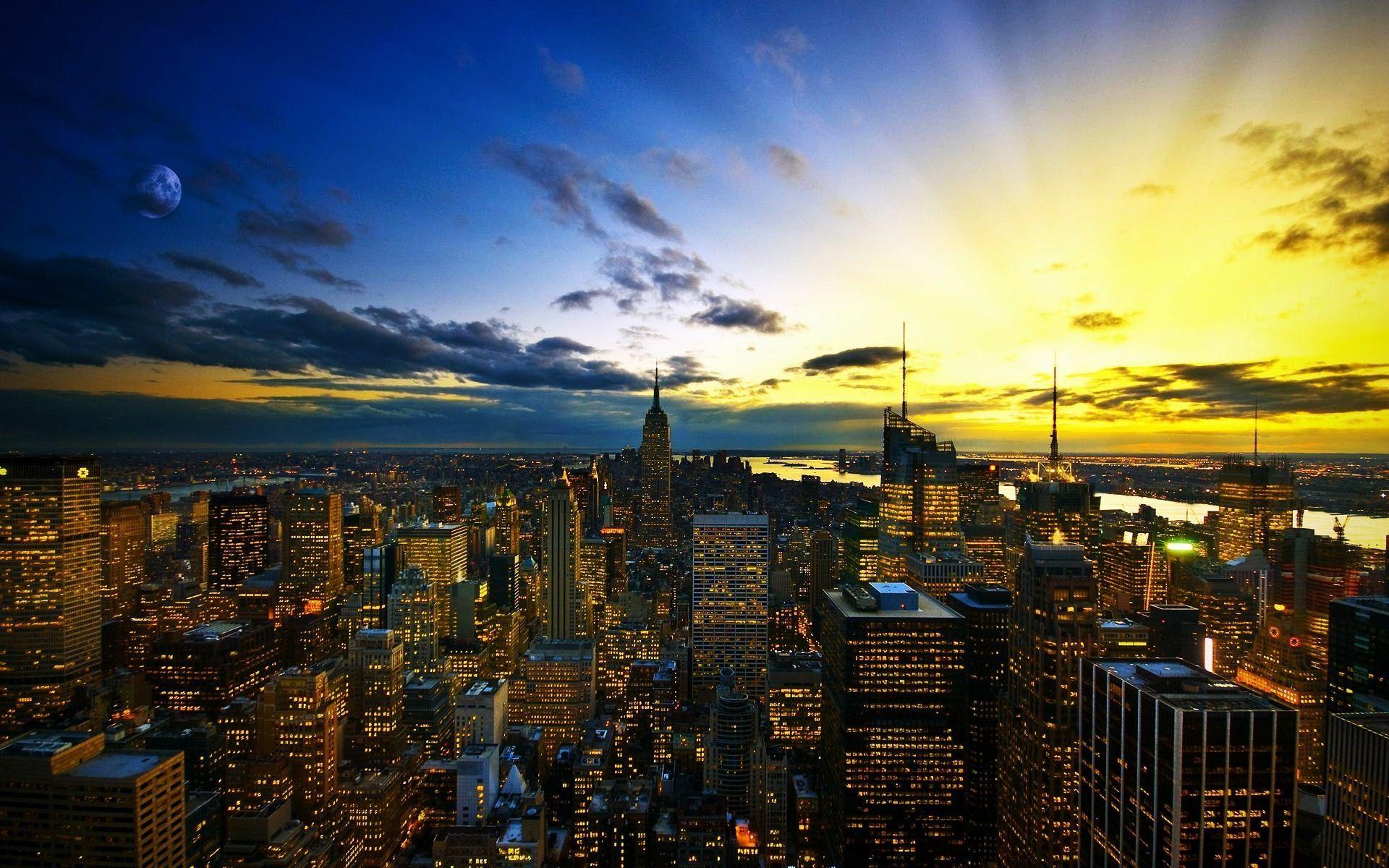 New York City Sunrise Haze Android Wallpaper Free Download 1920x1200