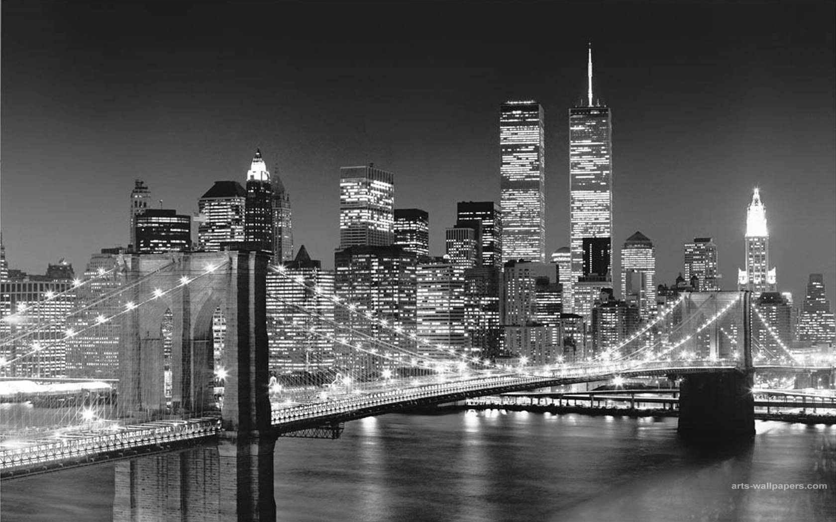 New York City Skyline At Night Hd Desktop Wallpaper High 1680x1050