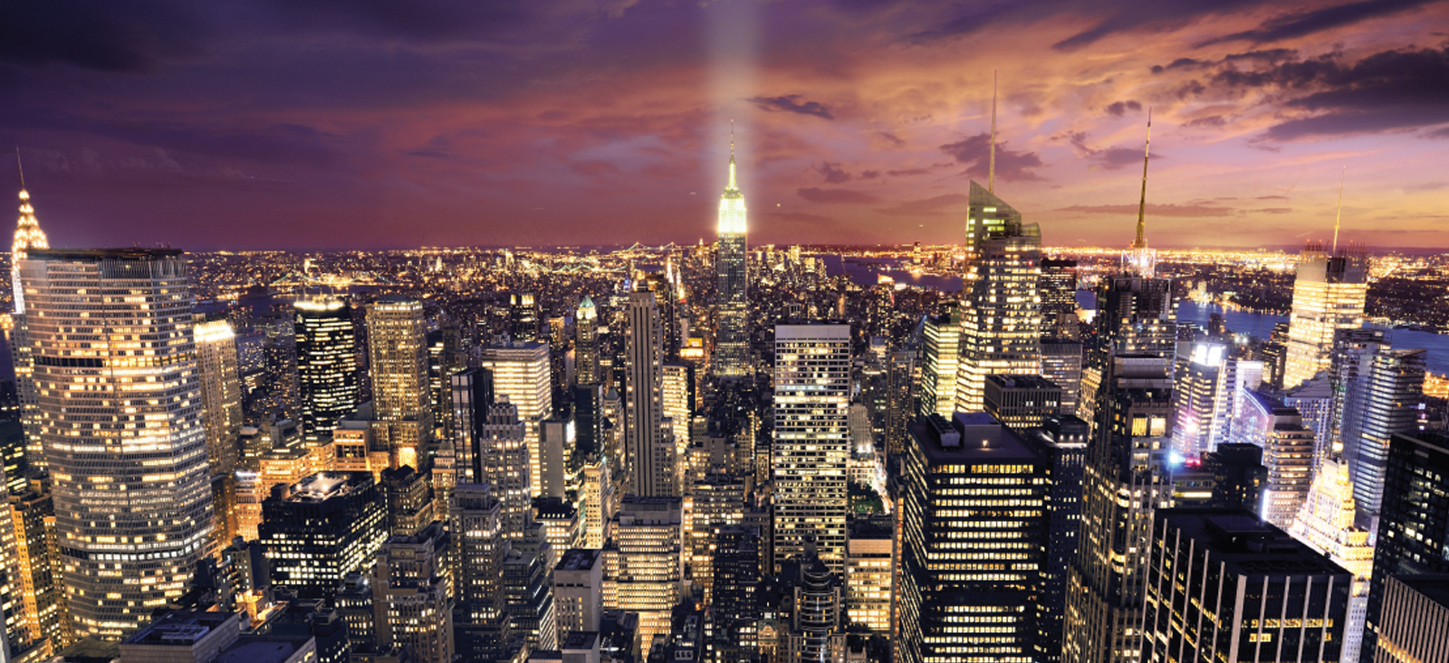 New York skyline wallpaper mural for wall 1600x733