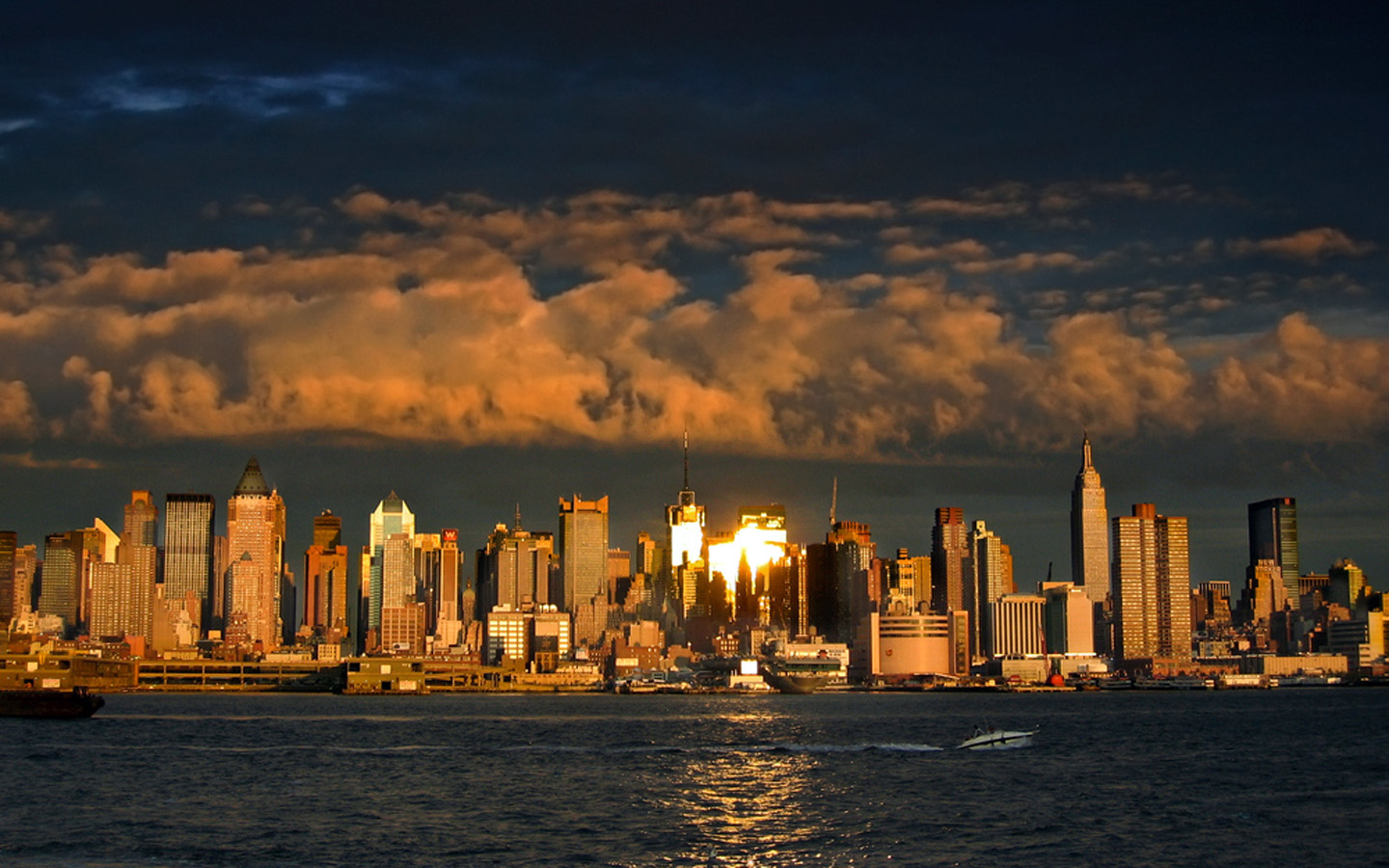 New York City Skyline At Night Wallpaper Space Wallpapers In Toplist 1440x900