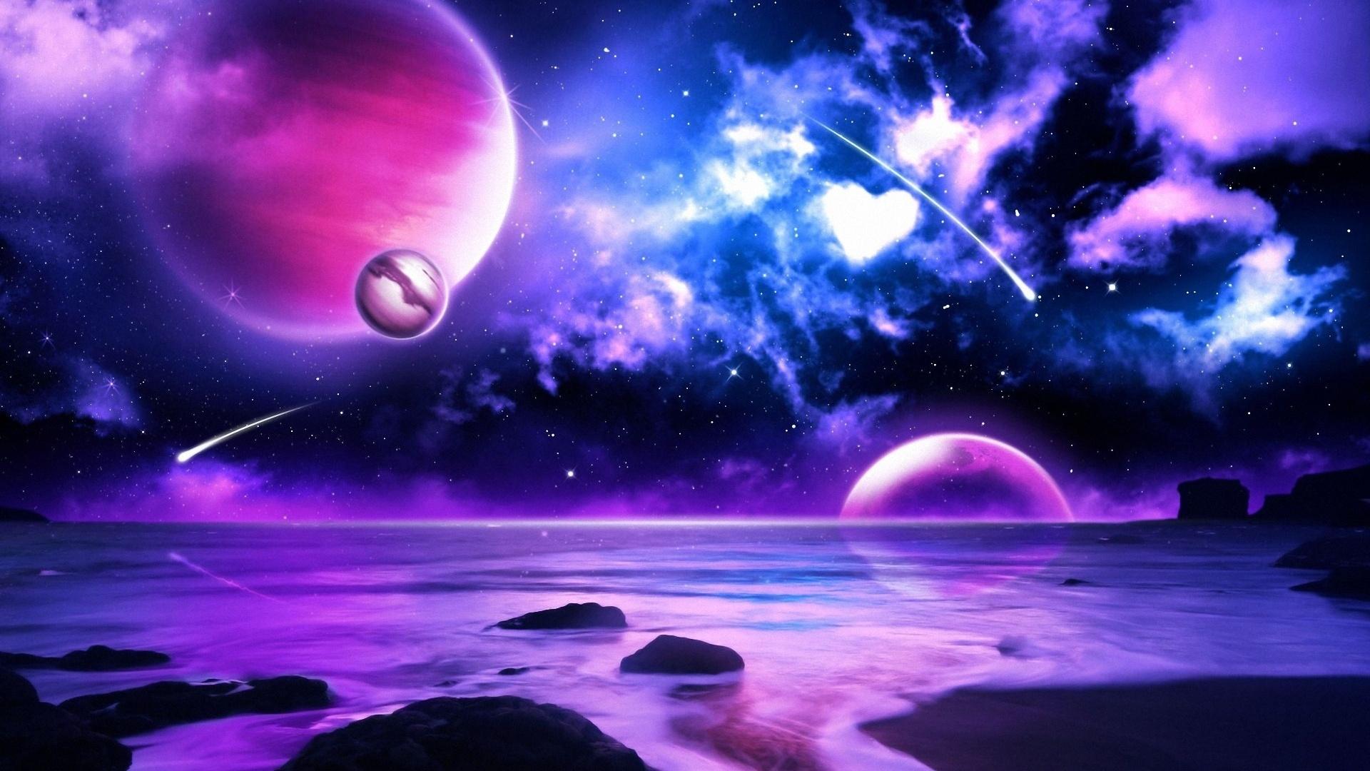 hd background purple galaxy space sky stars in blue pink