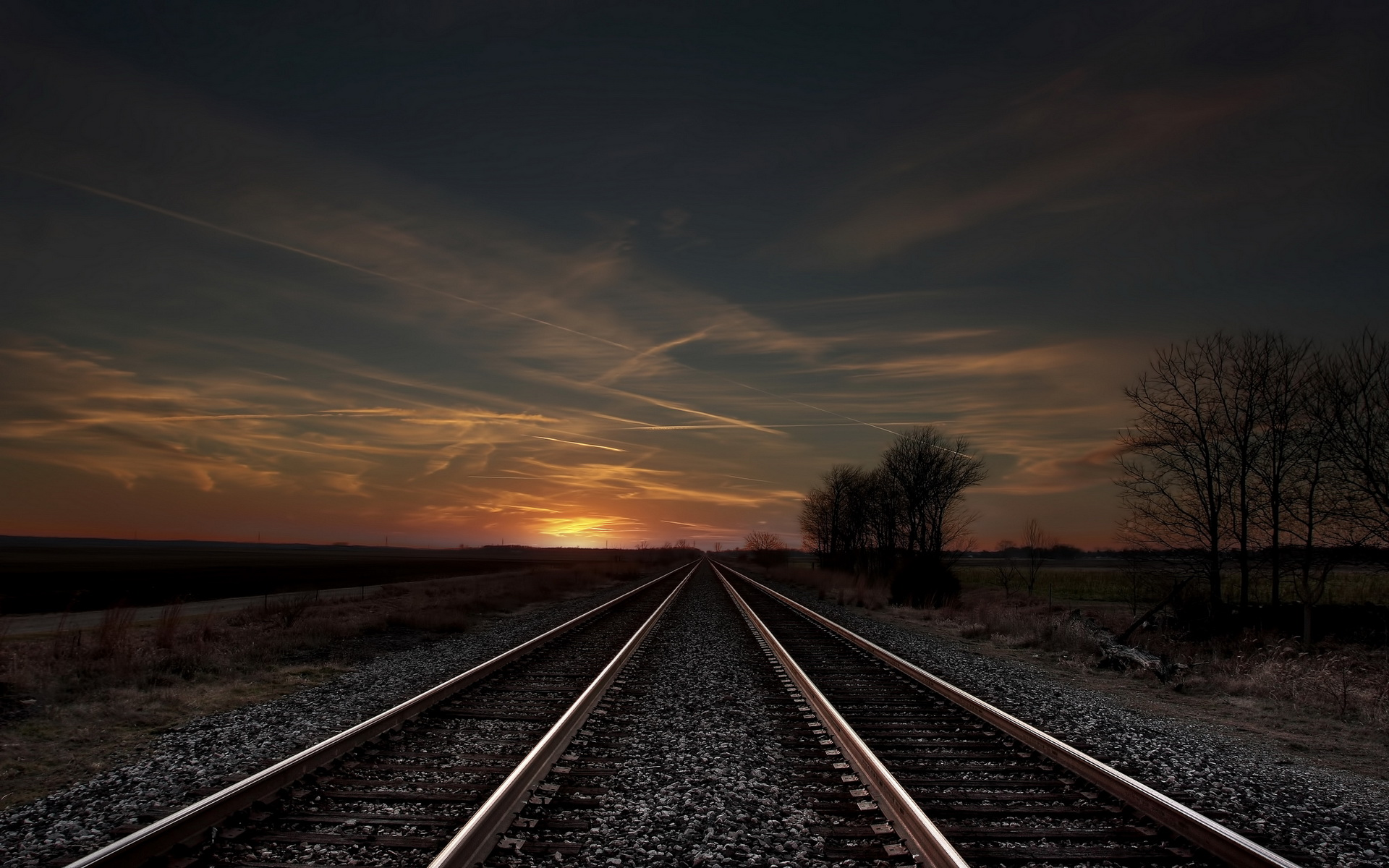 Download  Sunset Railway Wallpaper 1920x1200