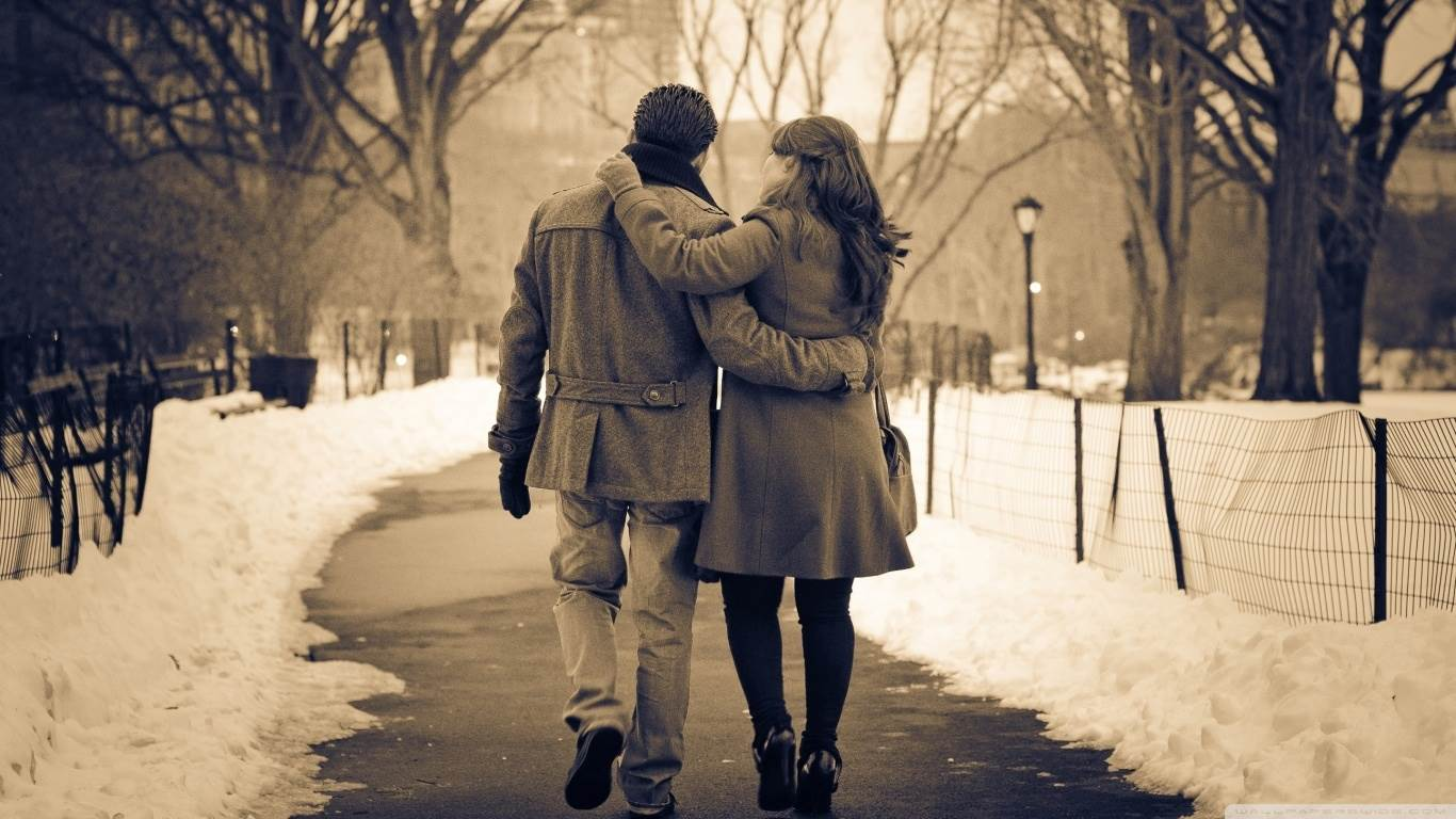 Romantic Walk In The Park Hd Desktop Wallpaper Widescreen High