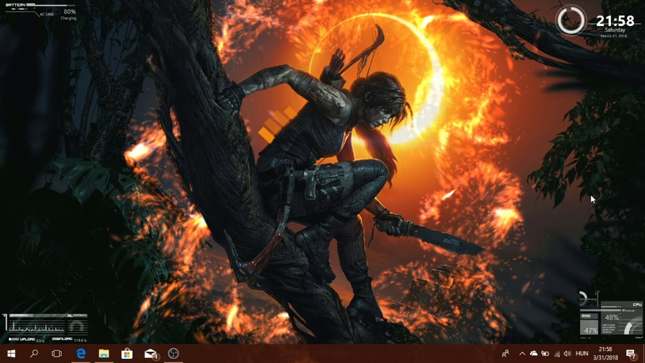 Shadow of the Tomb Raider Live Wallpaper Rainmeter skins