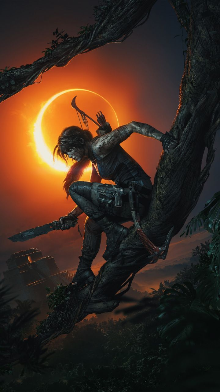 Shadow of the Tomb Raider video game dark night Lara Croft