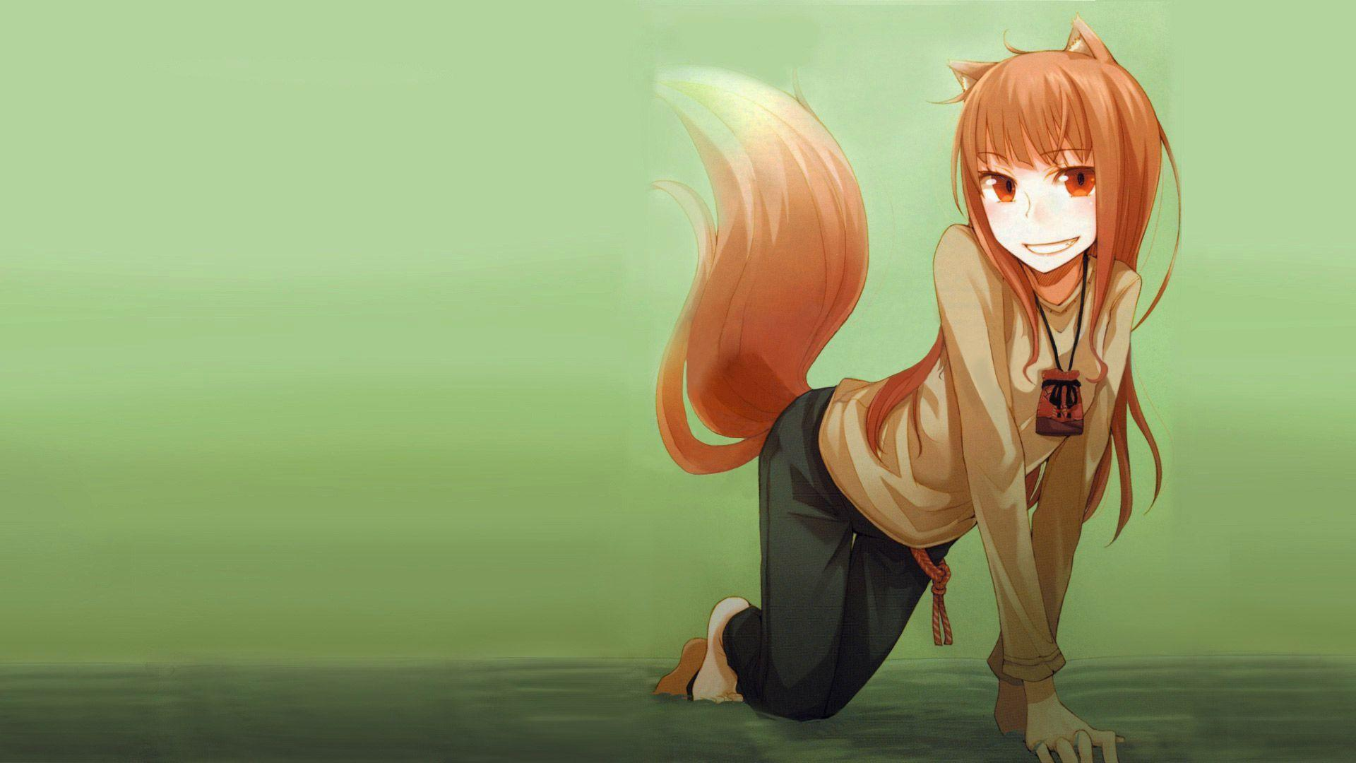 Wallpaper anime space Spice and Wolf boy girl screenshot