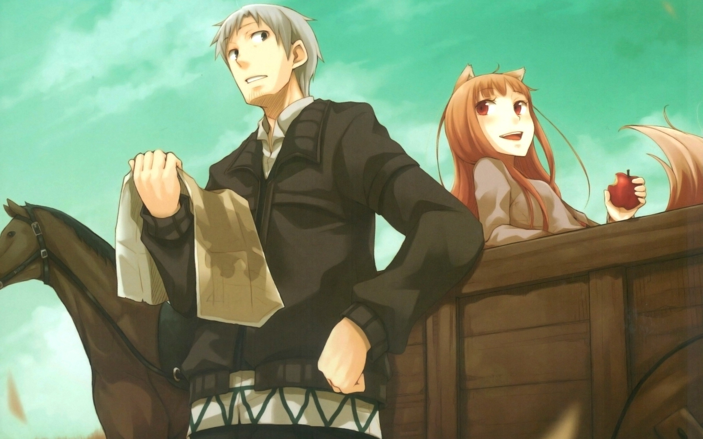 Spice and Wolf wallpaper by lightningcloud on