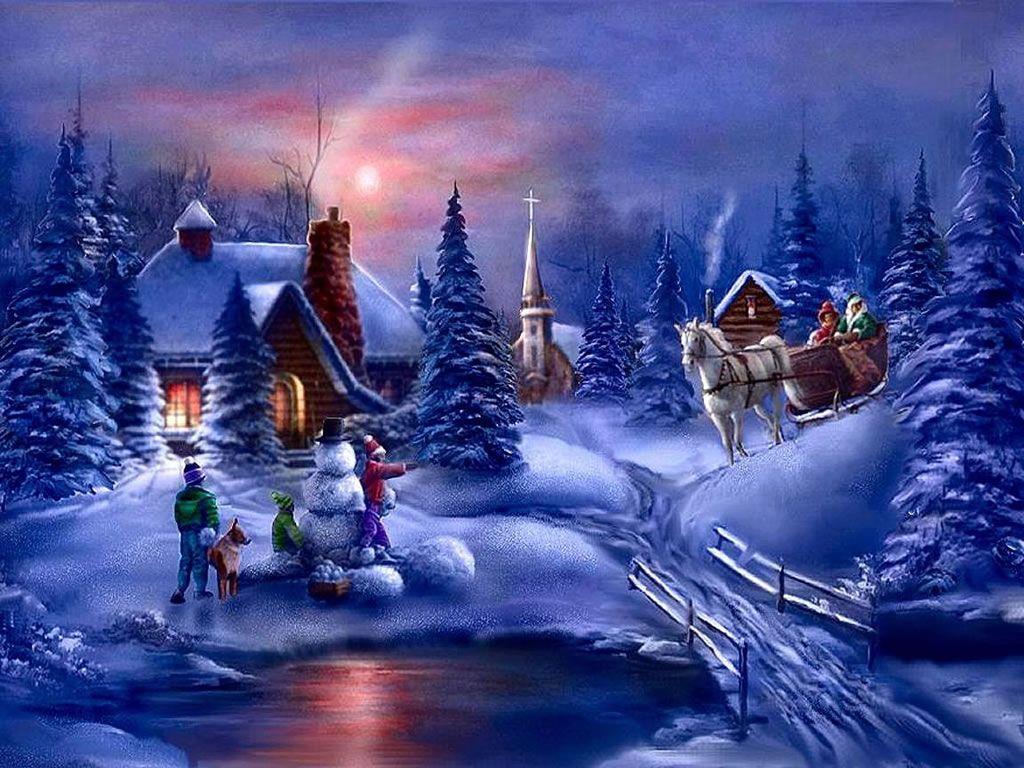 Christmas Winter Scenes Desktop Wallpapers Hd Wallpapers Pop 1024x768
