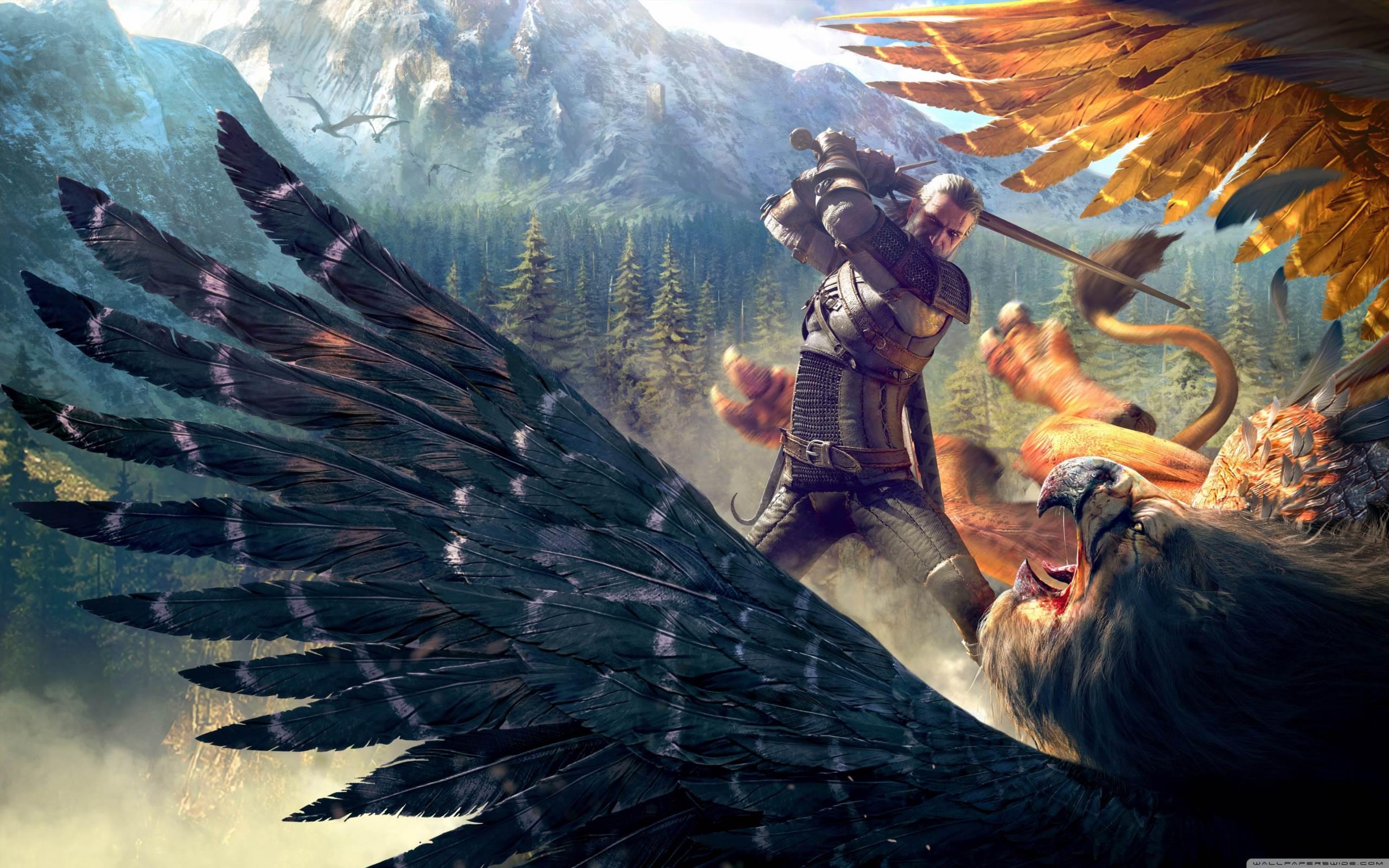 The Witcher 3 Wild Hunt Geralt And A Griffin Hd Desktop Wallpaper
