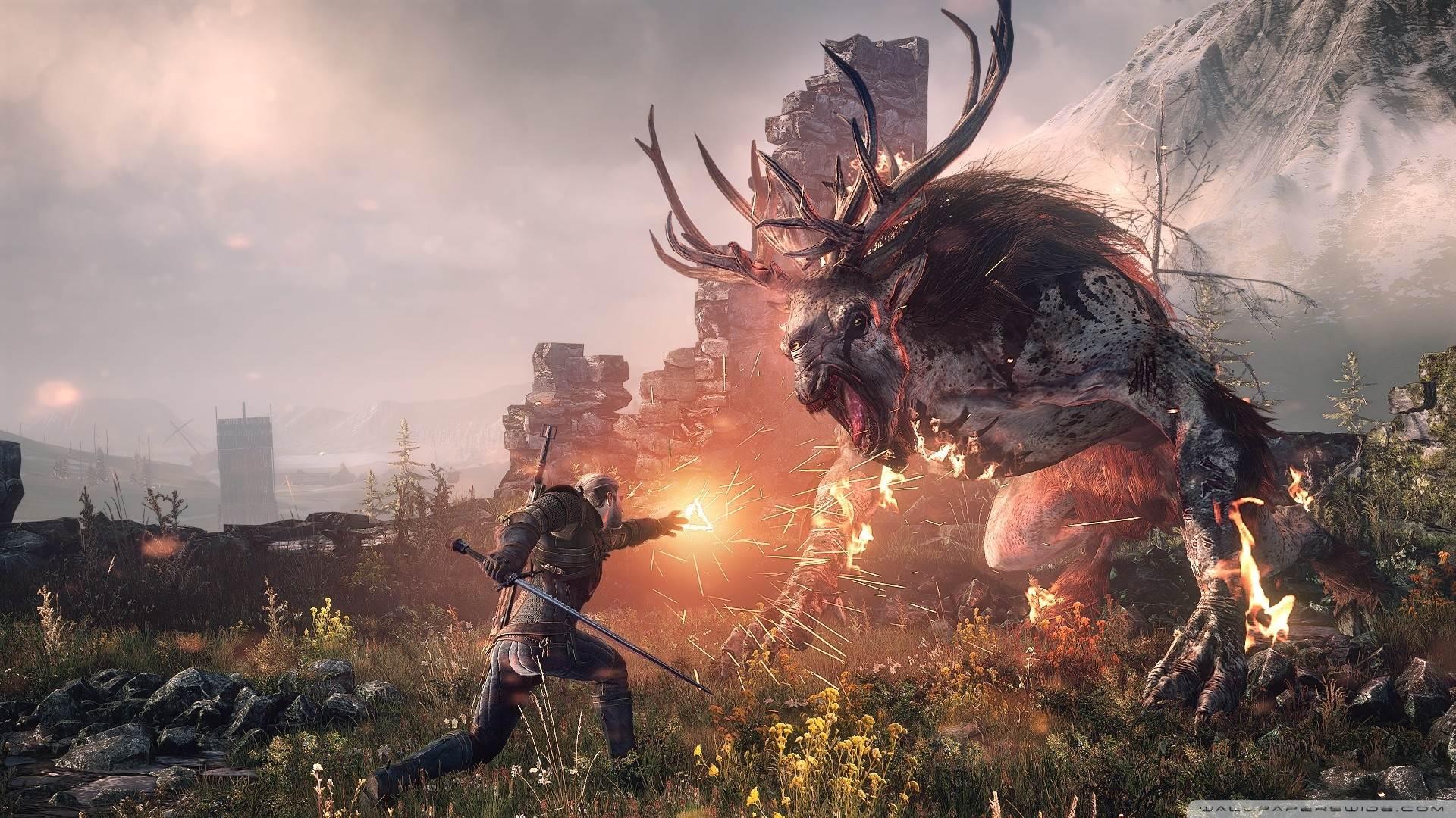 The Witcher 3 Wild Hunt Geralt Fighting The Fiend Hd Desktop