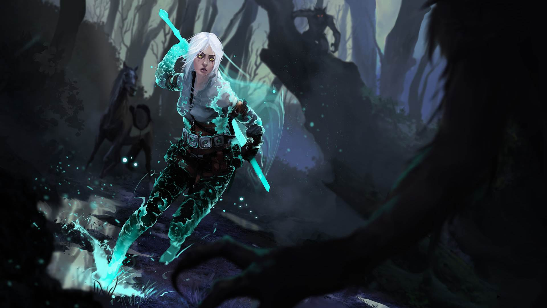 Download 1920 1080 Hd Wallpaper The Witcher 3 Geralt Alone Forest