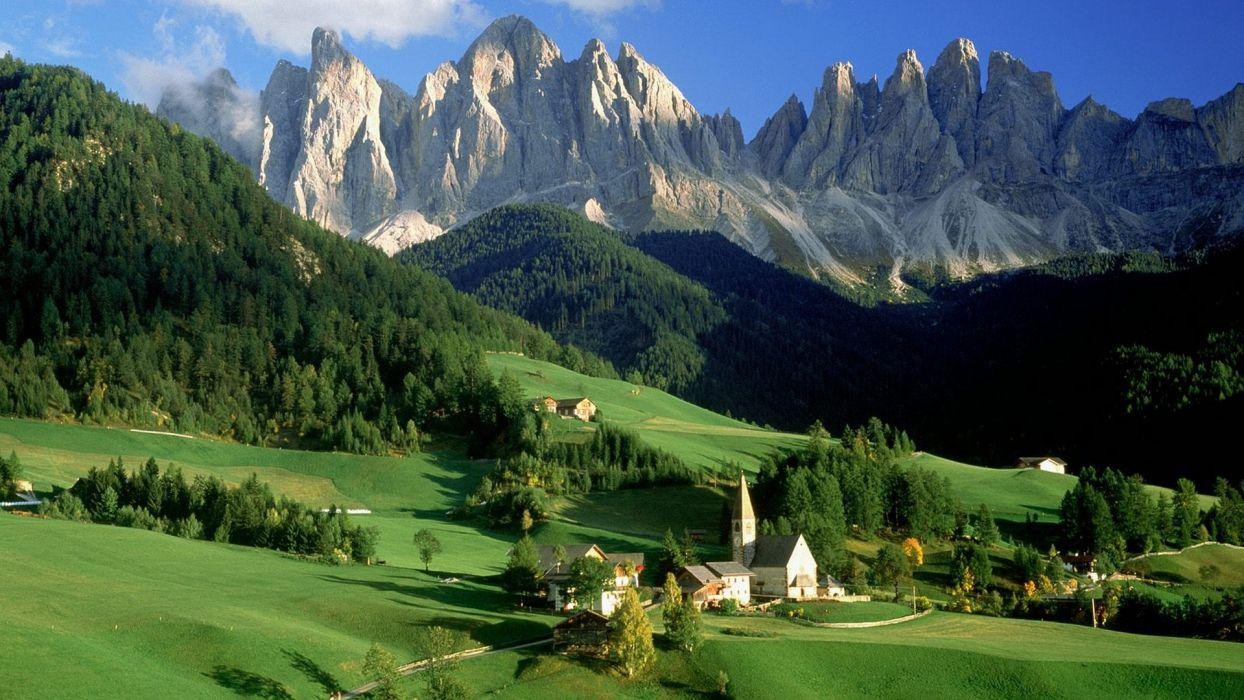 Wallpaper Italy Trentino Alto Adige green fields