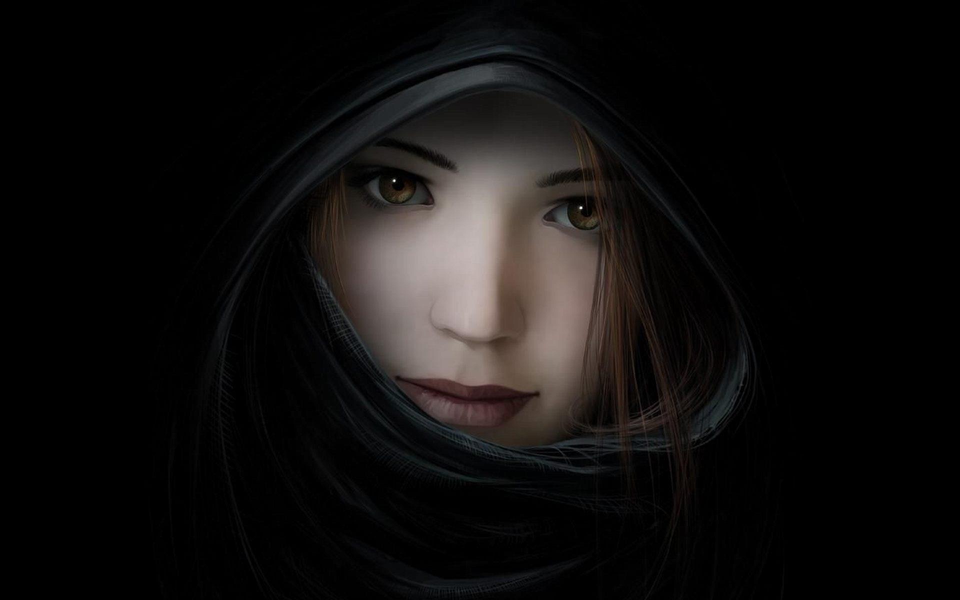 girl on dark wallpaper - photo #27
