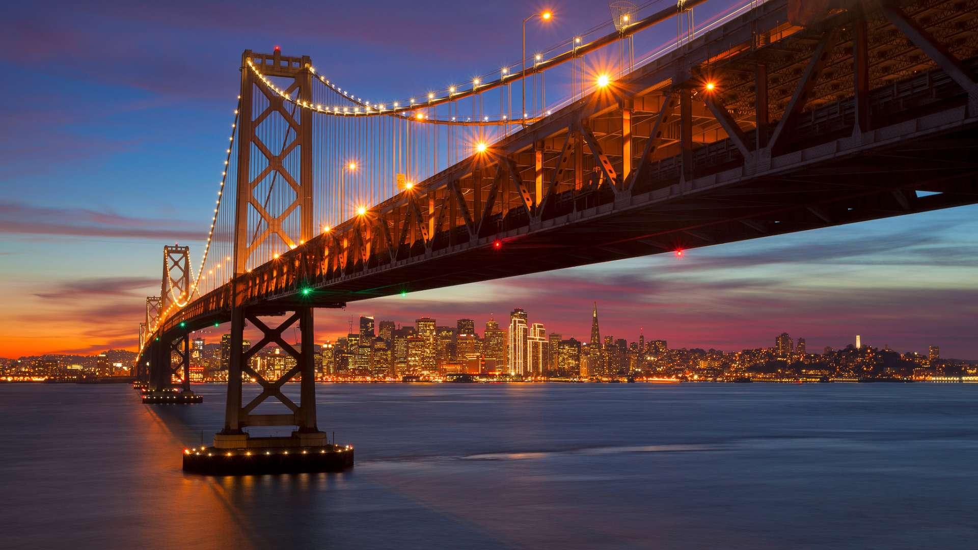 Evening Crossing, Bay Bridge, San Francisco, California скачать