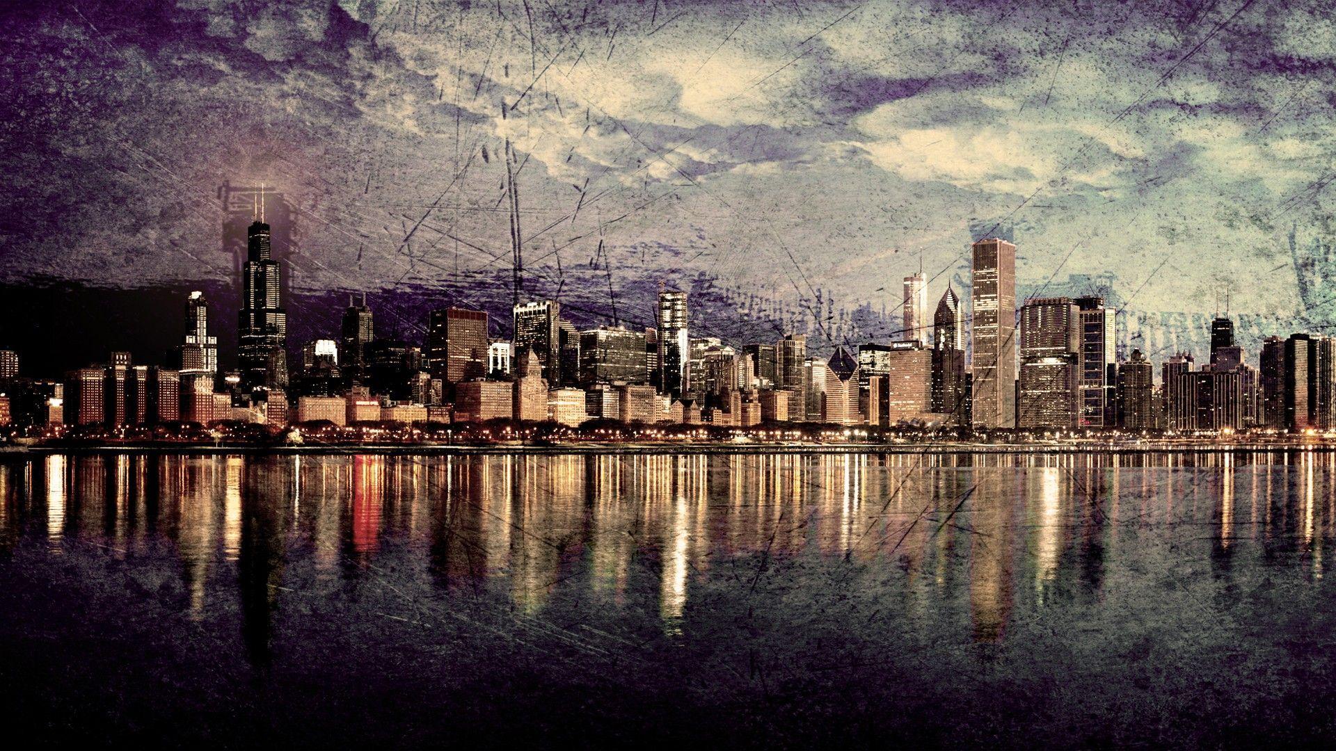 Chicago Skyline At Night Wallpaper 1920x1080