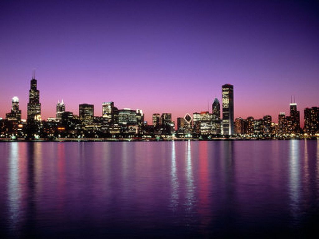 Glowing Chicago Skyline Wallpaper Wall Mural SelfAdhesive 1024×768 Part 93