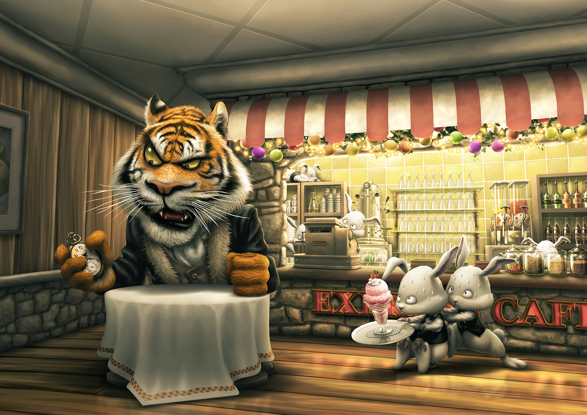 Impatient Tiger Served By Rabbits Wallpaper 1920x1357