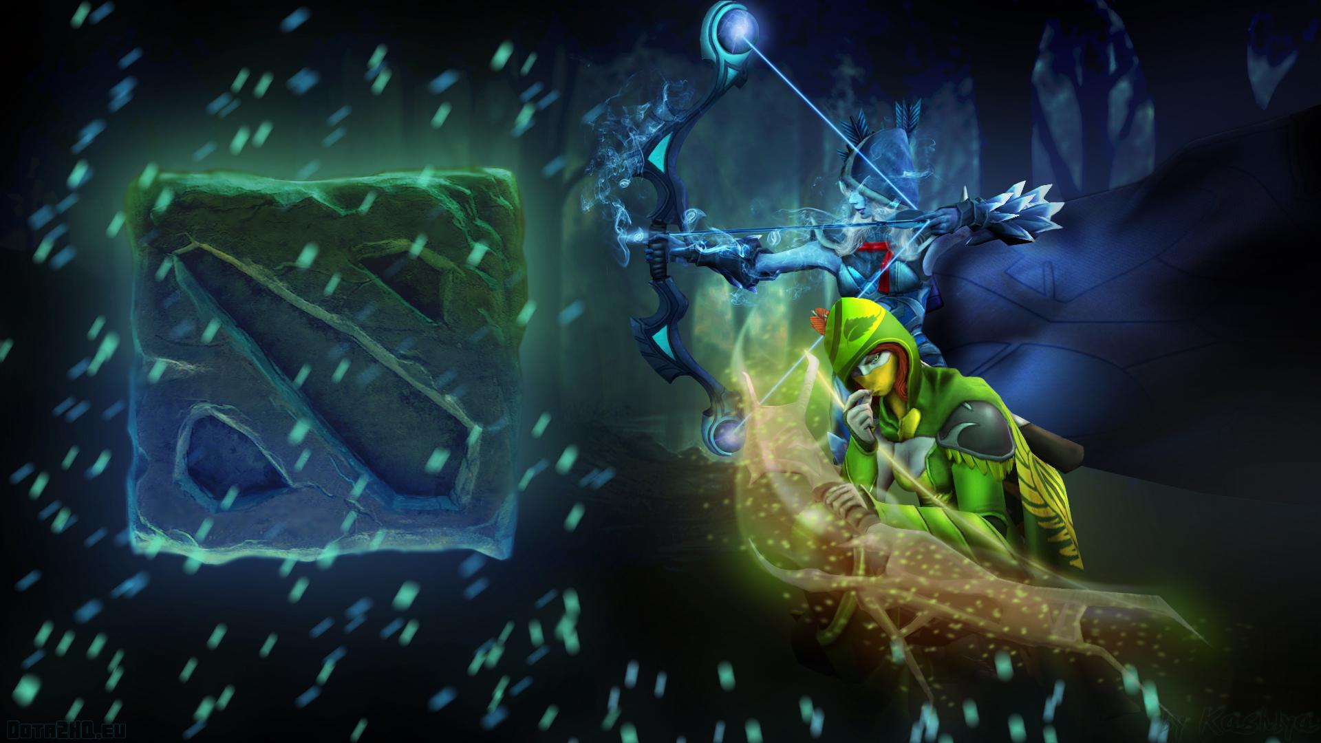 Pictures DOTA Drow Ranger Archers Warriors Fantasy Games Hood
