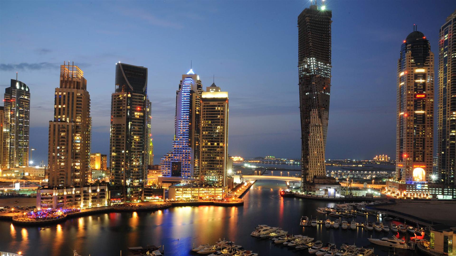 Group Of Dubai Night Skyline Wallpaper