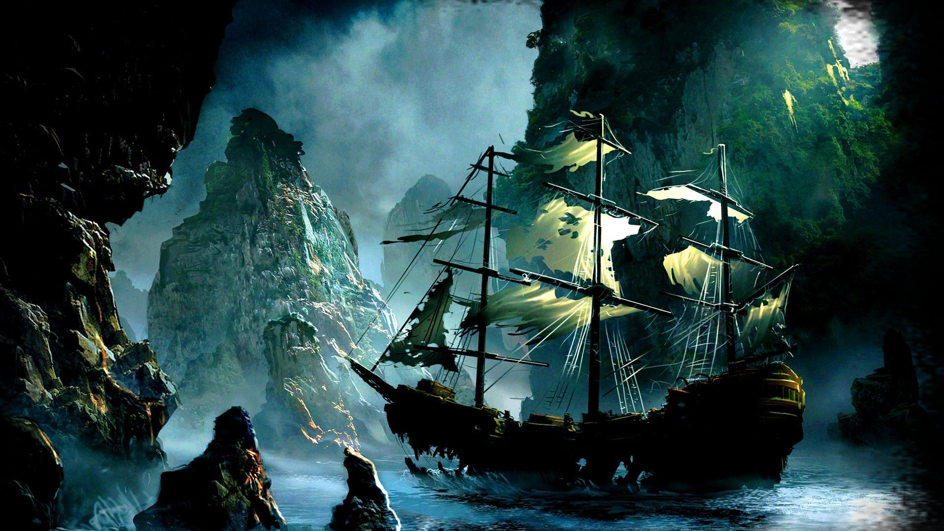 Ghost Pirate Ship Wallpapers Mobile for Background Wallpaper Real 1920x1080