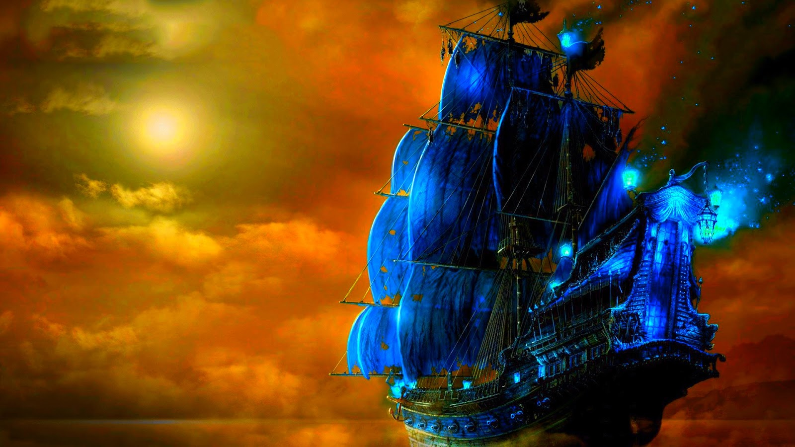 Pirate Ship Wallpaper Images Interior Inside Ghost Pirate Painting 1600x900