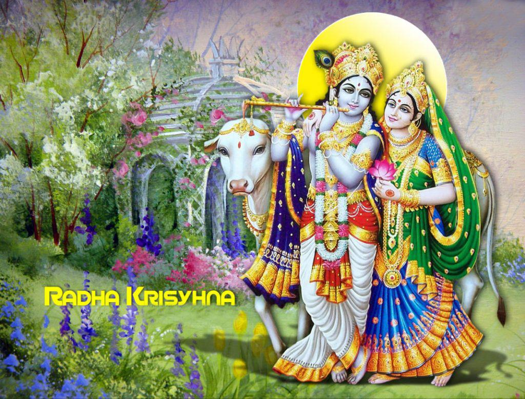 Radha Krishna and cows Srimati Radharani in  Krishna