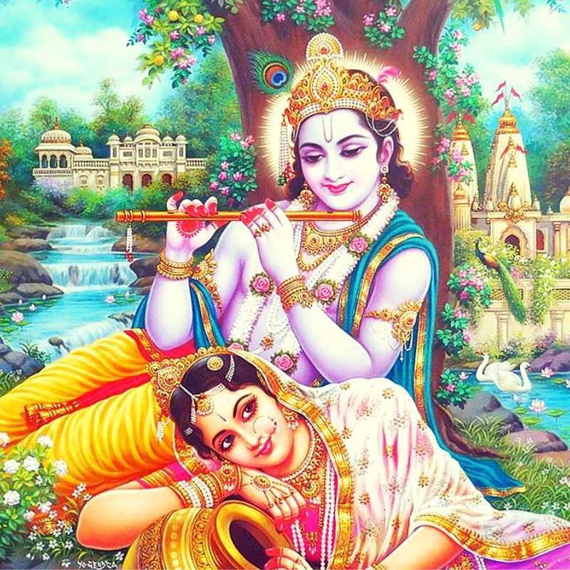 Radha Krishna with Cow Poster with Glitter Reprint on rh